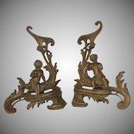 French Gilt Bronze Cherub Putti Fireplace Fire Place Chenets Andirons
