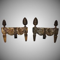 French Bronze Neoclassical Fireplace Draped Fabric Chenets Andirons
