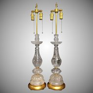 Pair of Elegant Louis XVI Gilt and Carved Rock Crystal Transitional Lamp