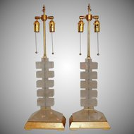 "Elegant Pair of Gilt and Rock Crystal Modern 2 Light Lamps 29"" H"