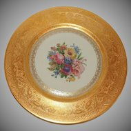 Set of 12 Heinrich & Co. Selb Bavaria Gold Encrusted Floral Dinner Plates