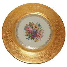 Set of 12 Heinrich & Co. Selb Bavaria Gold Encrusted Floral Dinner Plates