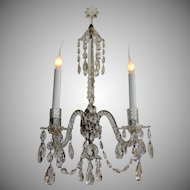 Two-Arm Elegant All Crystal Sconces with Decorative Bronze Plate