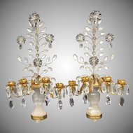 Transitional Pair Gilt Rock Crystal Baguès Flowers Candelabra Sconces