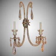Vintage Large Pair Of Elegant Cut Crystal & Bronze Adjustable Two-Arm Star Sconces