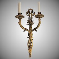 Elegant Set Of 4 Caldwell (2 Pairs) French Style Bronze Ribbon & Floral Sconces
