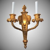 Pair of French Doré Bronze Fine Neoclassical Flame Top Sconces