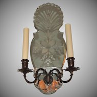 Pair of Etched Floral Mirror Back Two-Light Bronze Classical Sconces