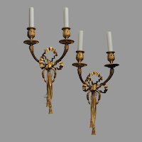 Pair of French Dore Bronze  Ribbon Tassel Wreath Two-Arm Sconces
