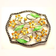 Sparkly Enamel on Sterling Silver Pin Brooch with Marcasites