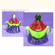 Adorable, Colorful, Cottageware Figural Lady Covered Sugar