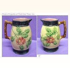 "Lovely 8"" Majolica Pitcher - Rose or Wild Rose Pattern"