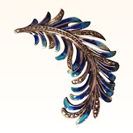 German Enamel on Sterling Feather Plume Pin w/Marcasites