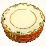 11 Royal Doulton The Roxbury Plates Raised Enamel Work
