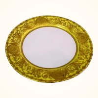 Early Royal Worcester Raised Gold on Yellow Border Plate