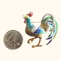 Very Large Rooster Enamel on Gilt Sterling  and  Marcasites German Brooch
