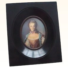 Handpainted Framed Miniature Portrait Signed NOT on Ivory
