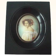 Antique Handpainted Miniature Portrait