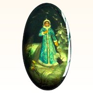 Russian Lacquer Legend Box Handpainted, Papier Mache and Signed Fedoskino Snow Maiden