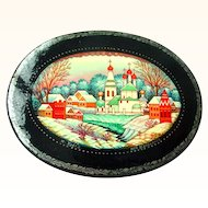 Russian Lacquer Handpainted Winter Scene Miniature Papier Mache Box