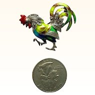 Signed Caviness Germany Enamel Sterling Rooster Pin