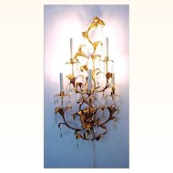 Large Elegant Italian Florentine Gilt Metal Tole and Crystal Electrified Sconce