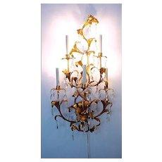 Large Elegant Italian Florentine Gilt Metal Tole and Crystal Electrified Sconce