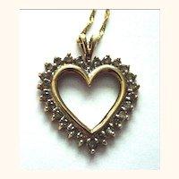 10K Yellow Gold and Diamond Heart Pendant Charm