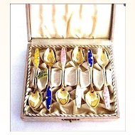 Sterling Silver and Gilded Denmark Enamel Demitasse Spoons - Boxed Set of 6 by Frigast