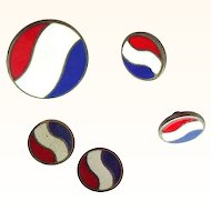 Rare Pepsi Collectible Item - 5 Enamel on Sterling Buttons - Red, White, and Blue - July 4th Gift?