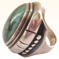 Very Large Modern Handwrought Artist Made Sterling Silver and Stone Ring - OUTSTANDING!