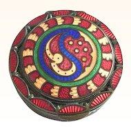 Unusual Enamel and Guilloche on Bronze Patch Box, Compact, Vanity Box, Objet de Virtu