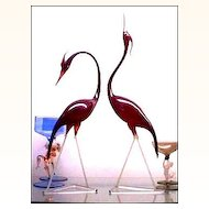 Large Bimini Austrian Art Deco Art Glass Pair of Egrets