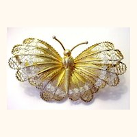 "Very Large 2 3/4"" Lacy Filigree and Enamel Gilded Butterfly Pin Italian Silver"