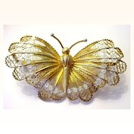 "Very Large 2 7/8"" Lacy Filigree and Enamel Gilded Butterfly Pin Italian Silver"