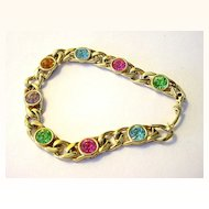 Multi-color Pastel Faux Gem and Goldtone Link Bracelet