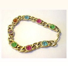Multi-color Pastel Faux Gem and Goldtone Link Bracelet