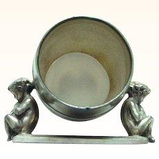 Antique Rogers Triple Silverplate Cherubs Napkin Ring