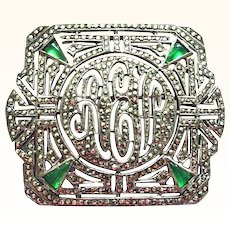 Brilliant Large Ciner Sterling Marcasite and Chrysophase Initial Pin