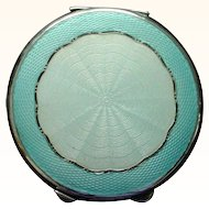 "Large 2 3/4"" Enamel on Sterling Silver British 1919 Compact - Two Shades of Blue"