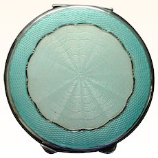 """Large 2 3/4"""" Enamel on Sterling Silver British 1919 Compact - Two Shades of Blue"""