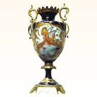 Art Nouveau French Sevres Portrait Mercury Vase with Bronze Mounts Raised Gold Decorations