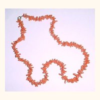 "22"" Salmon Color Branch Coral Necklace"