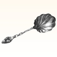 Very Large Sterling Silver Figural Strawberry Pattern Serving Spoon