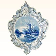 Stupendous Huge Antique Delft Handpainted Plaque