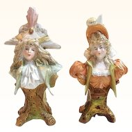Antique Teplitz Miniature Bust of Man and Woman - Pair