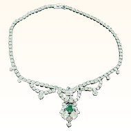 Faux Diamond Rhinestone and Emerald Rhinestone Festoon Necklace