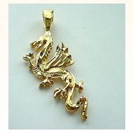 Gold Plated Silver Dragon Pendant