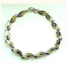 Modernist Danish Denmark Designer Sterling Silver Necklace by A&K
