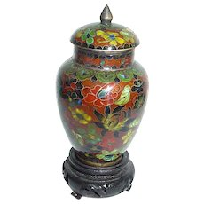 Vintage Miniature Chinese Cloisonne Covered Vase or Urn